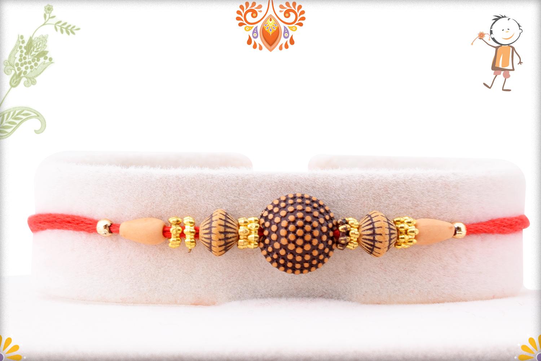 Exclusive Rakhi With Unique Wooden Bead And Golden Design 1