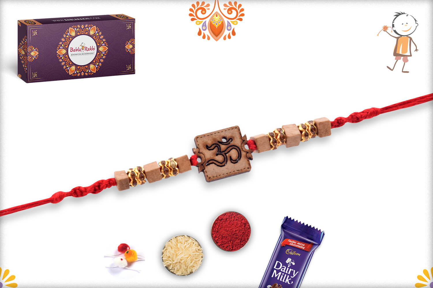 Aspicious Wooden Beads With Om In Center Rakhi With Designer Thread 2