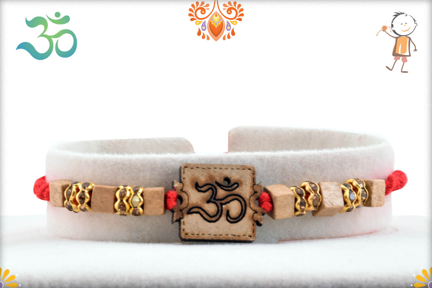 Aspicious Wooden Beads With Om In Center Rakhi With Designer Thread 1
