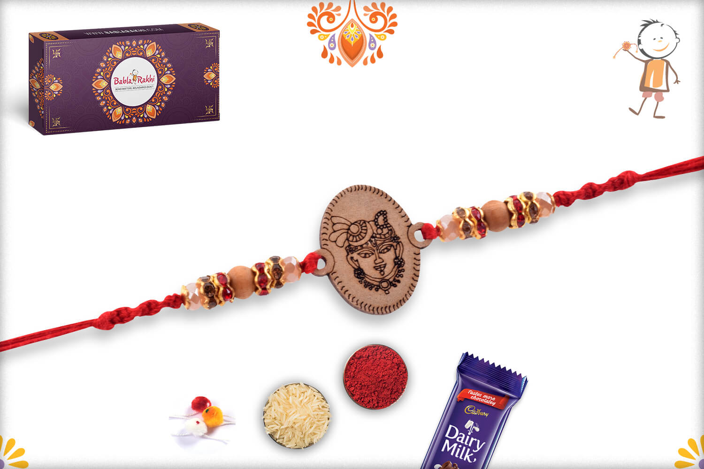 Aspicious Wooden Beads With Shreenathji Mukharvind In Center Rakhi With Designer Thread 2