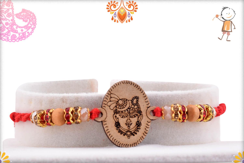 Aspicious Wooden Beads With Shreenathji Mukharvind In Center Rakhi With Designer Thread 1