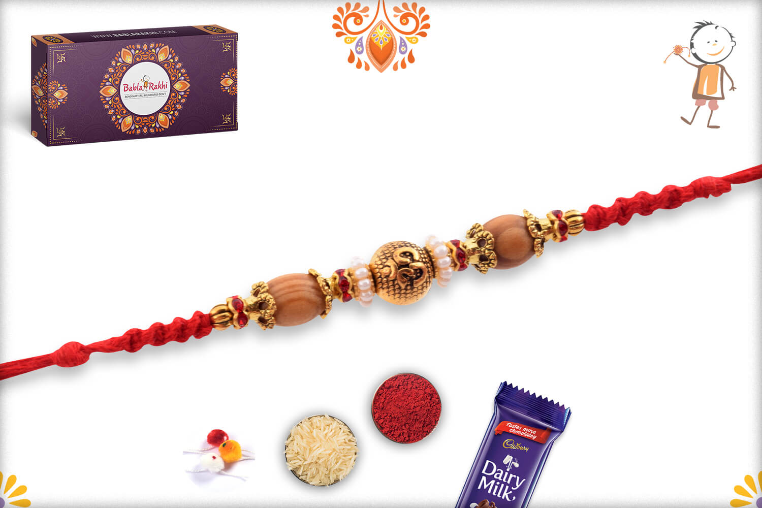 Unique Golden Beads With Om In center And Wooden Beads Rakhi 2