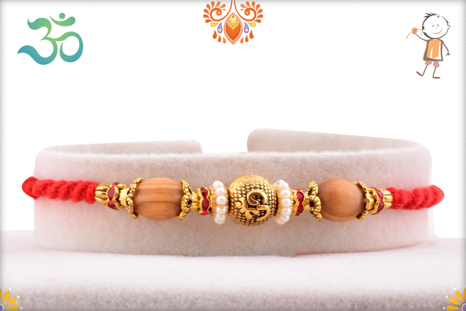 Unique Golden Beads With Om In center And Wooden Beads Rakhi 1
