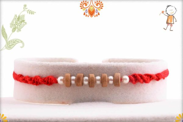 Handcrafted 5 Sandalwood Beads Rakhi with Pearls - Babla Rakhi