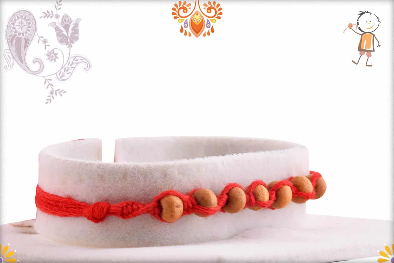 Uniquely Knotted 7 Sandalwood Beads Rakhi - Babla Rakhi