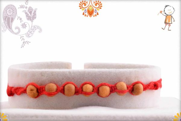 Uniquely Knotted 7 Sandalwood Beads Rakhi - Babla Rakhi
