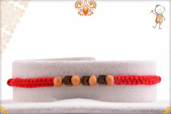Handcrafted Sandalwood with Arrow Beads Rakhi - Babla Rakhi