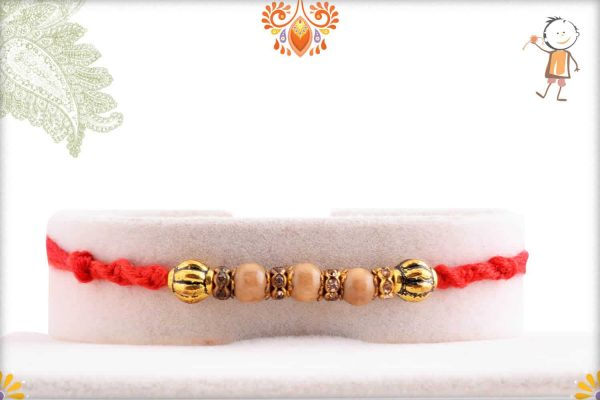 Beautiful Sandalwood Rakhi with Designer Beads and Diamond - Babla Rakhi
