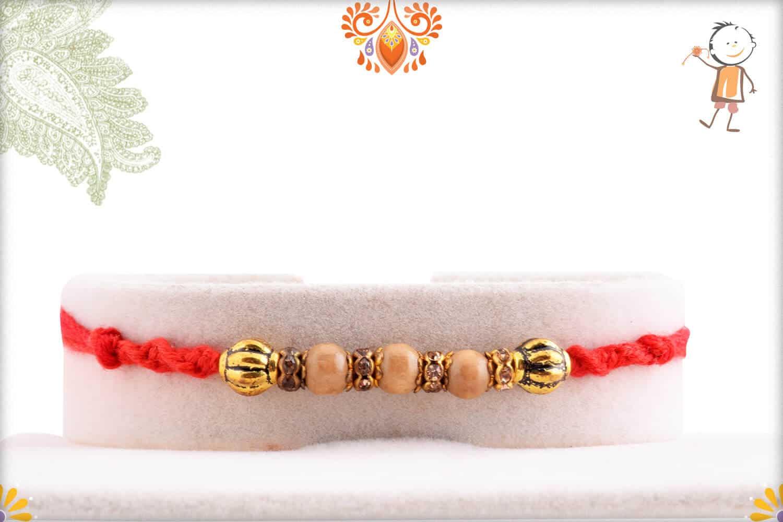 Beautiful Sandalwood Rakhi with Designer Beads and Diamond - Babla Rakhi
