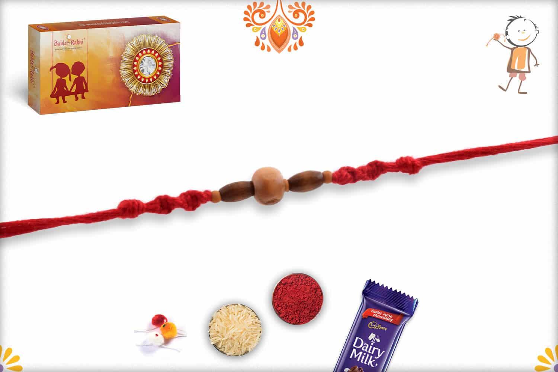 Simple Sandalwood Rakhi with Handcrafted Red Thread - Babla Rakhi