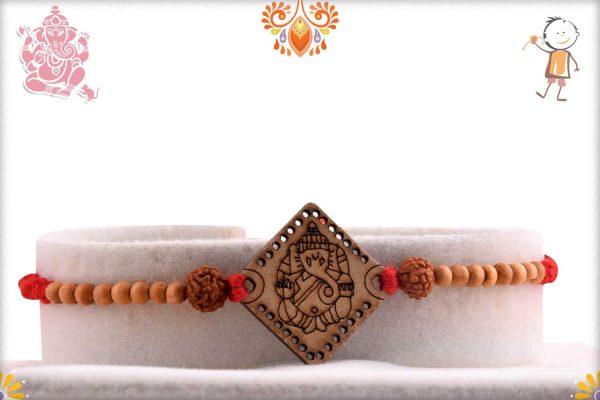 Wood Engraved Ganpati Rakhi - Babla Rakhi