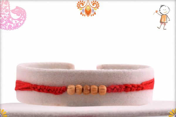Delicate 5 Sandalwood Beads Rakhi with Handcrafted Thread - Babla Rakhi