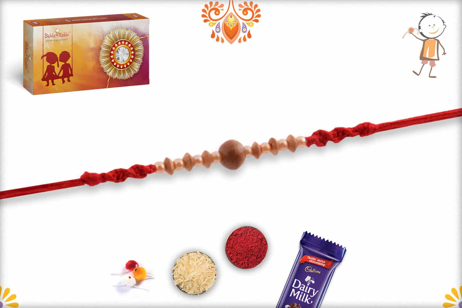 Designer Sandalwood Rakhi with Attractive Pearls 1