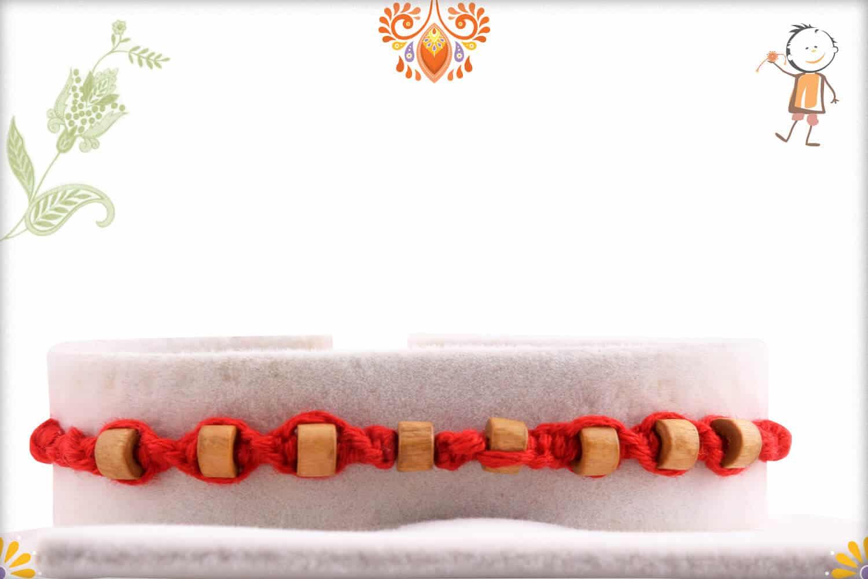 Uniquely Knotted 8 Round Sandalwood Beads Rakhi
