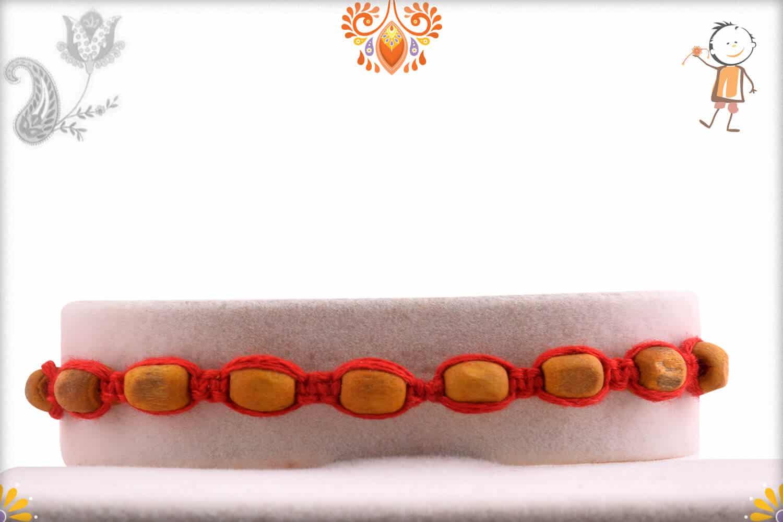 Uniquely Knotted 9 Sandalwood Beads Rakhi - Babla Rakhi