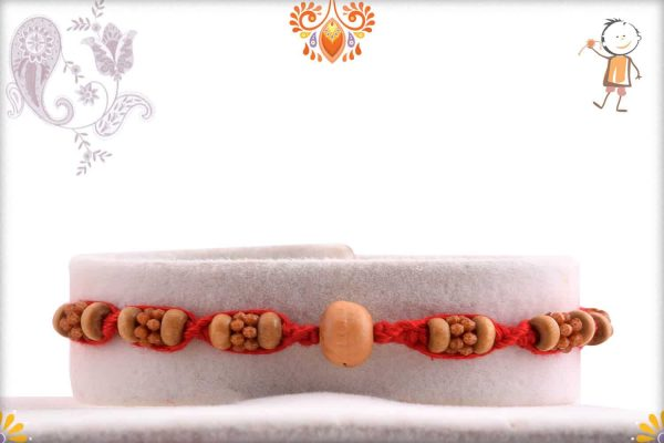 Uniquely Knotted Sandalwood Rakhi with Red Thread - Babla Rakhi
