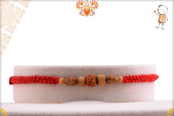 Uniquely Knotted Thread Rakhi with Sandalwood Beads and Rudraksh - Babla Rakhi