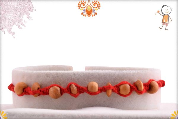 Uniquely Crafted Sandalwood Beads Rakhi - Babla Rakhi