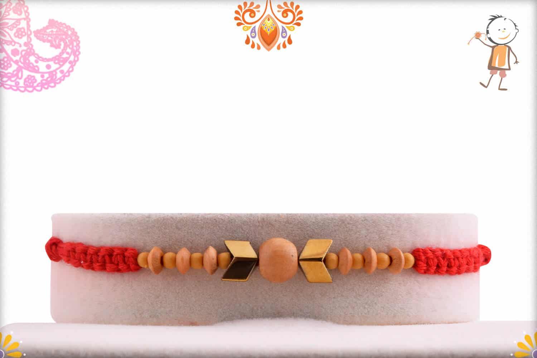 Elegantly Handcrafted Sandalwood with Arrow Beads Rakhi - Babla Rakhi
