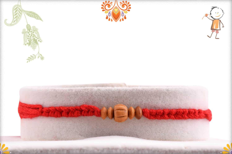 Traditional Sandalwood Rakhi with Uniquely Knotted Thread - Babla Rakhi