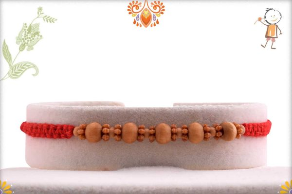 Designer Sandalwood Rakhi with Uniquely Knotted Thread - Babla Rakhi