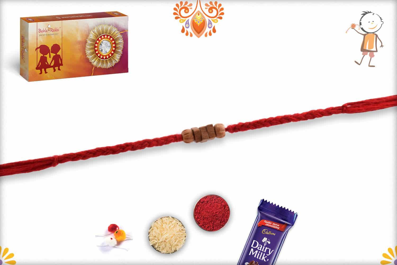 Handcrafted Square Sandalwood Bead Rakhi with Uniquely Knotted Thread - Babla Rakhi