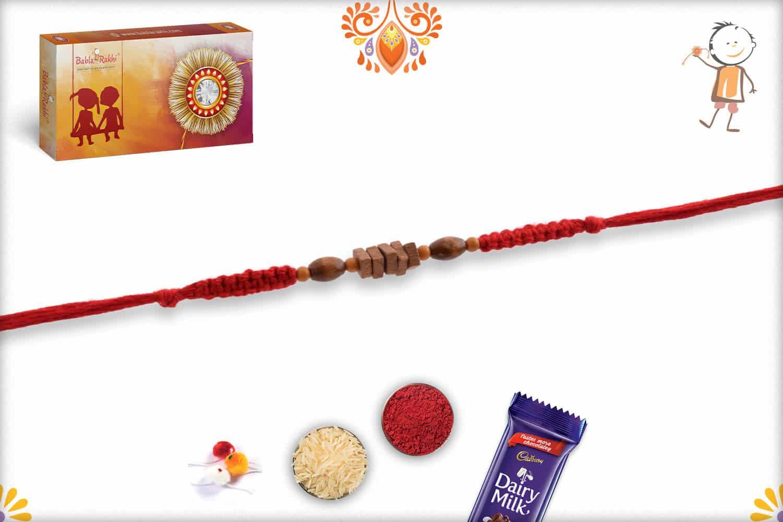 Square Sandalwood Bead Rakhi with Uniquely Knotted Thread - Babla Rakhi