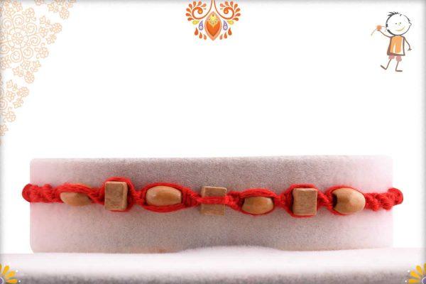 Uniquely Knotted Square and Oval Sandalwood Beads Rakhi - Babla Rakhi