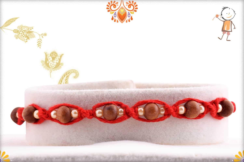 Uniquely Knotted 7 Sandalwood Beads Rakhi with Pearls - Babla Rakhi