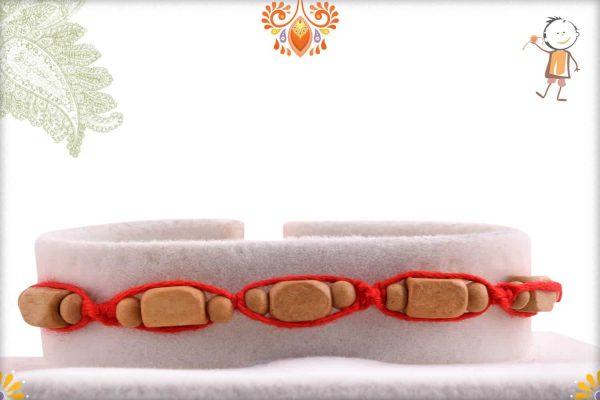 Uniquely Knotted Rectangle Sandalwood Beads Rakhi - Babla Rakhi