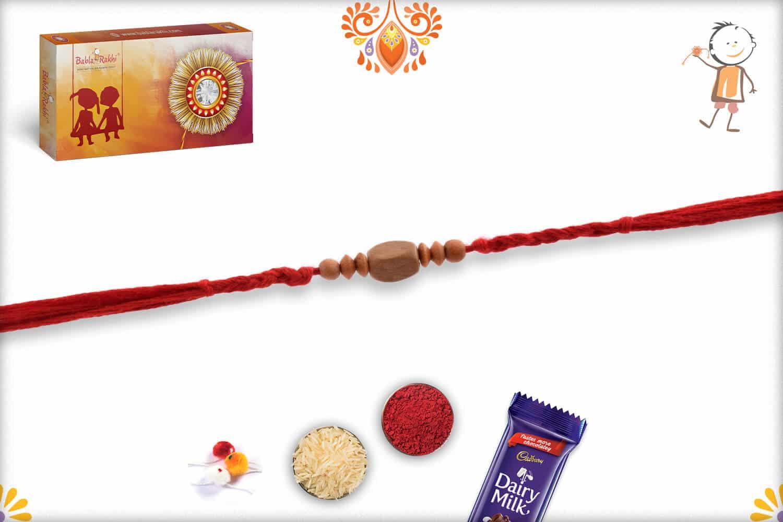 Elegant Rectangle Sandalwood Bead Rakhi - Babla Rakhi