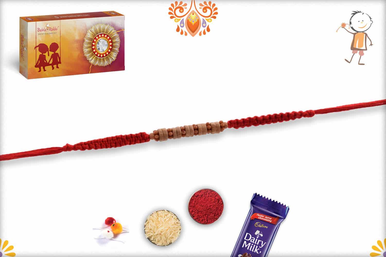 Stylish Sandalwood Rakhi with Uniquely Knotted Thread - Babla Rakhi