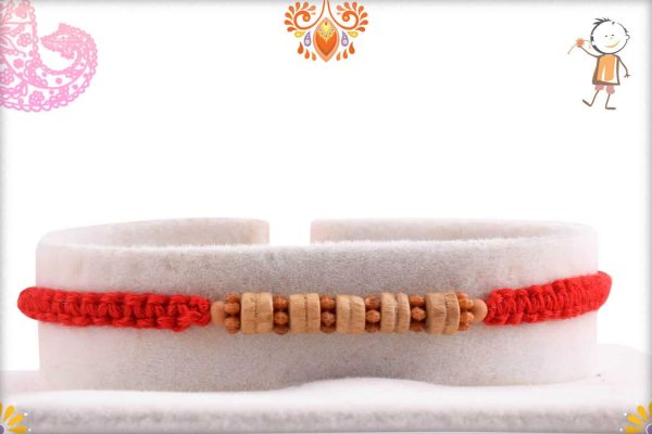 Stylish Sandalwood Rakhi with Uniquely Knotted Thread - Babla Rakhi