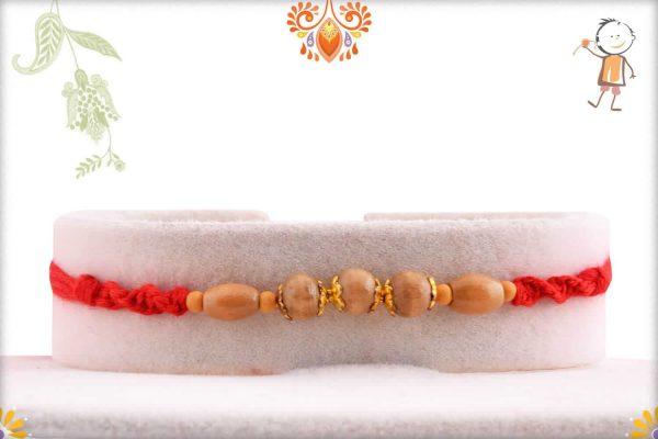 Simple Square and Oval Sandalwood Beads Rakhi - Babla Rakhi