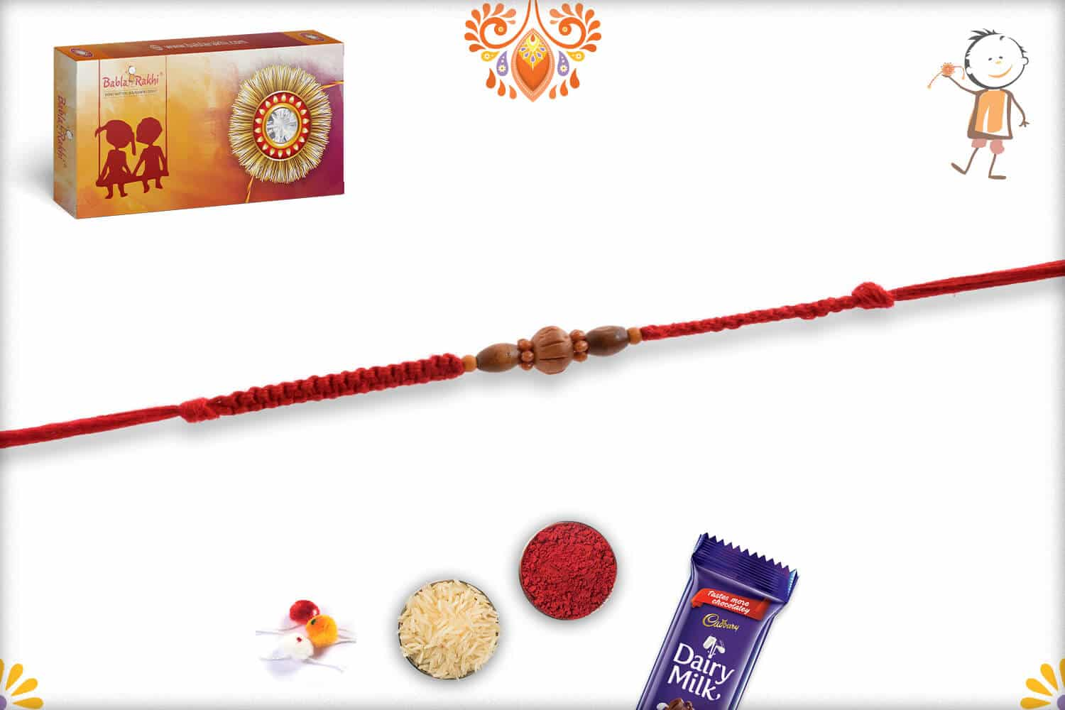 Simple Sandalwood Rakhi with Uniquely Knotted Thread - Babla Rakhi