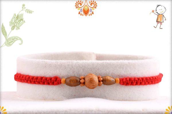 Simple Sandalwood Rakhi with Uniquely Knotted Thread - Babla Rakhi