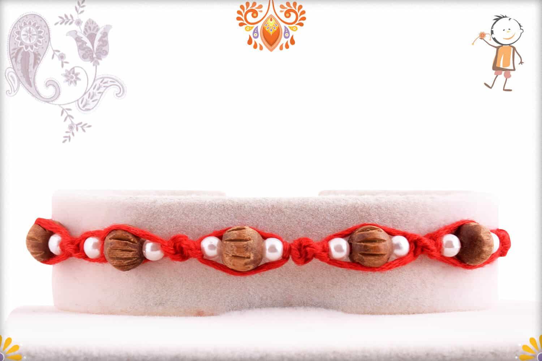 Uniquely Knotted 5 Sandalwood Beads Rakhi with Pearls - Babla Rakhi