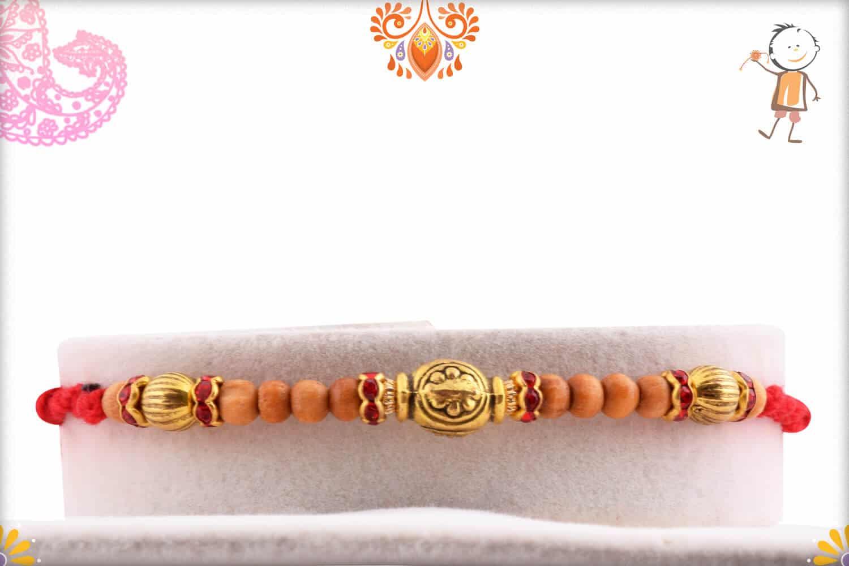 Designer Golden Beads Rakhi with Sandalwood Beads - Babla Rakhi