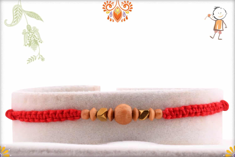Uniquely Knotted Sandalwood Rakhi with Designer Beads - Babla Rakhi