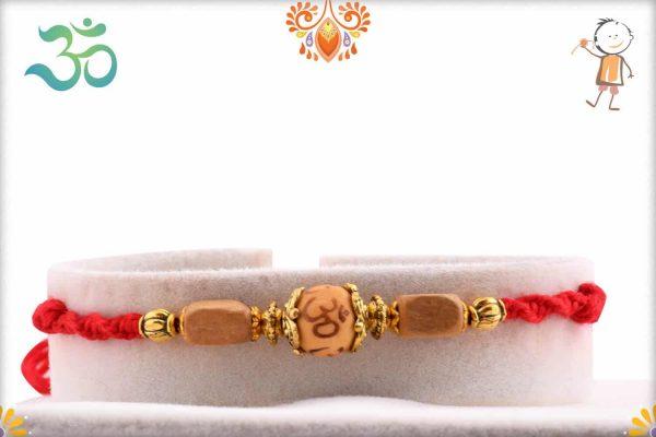 Simple Sandalwood Bead with OM Rakhi - Babla Rakhi