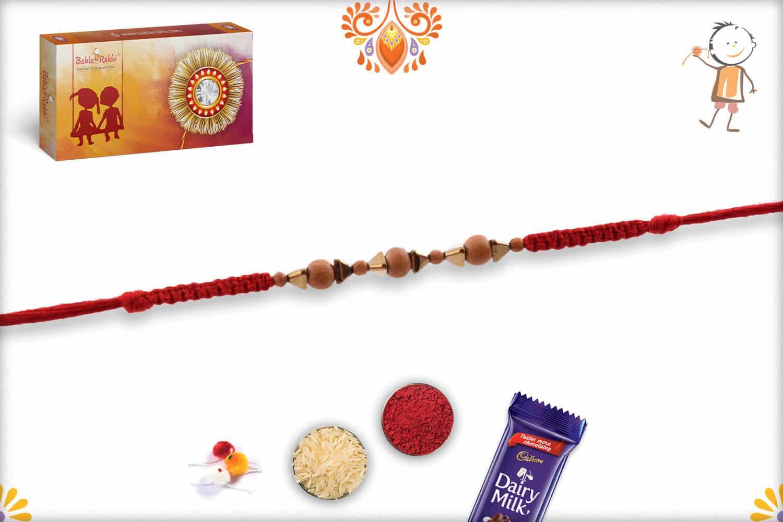 Uniquely Knotted Sandalwood Rakhi with Triangle Golden Beads - Babla Rakhi
