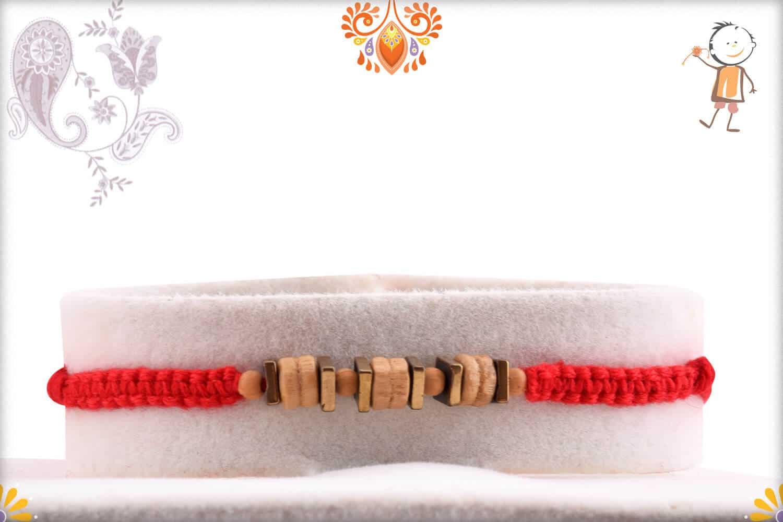 Uniquely Knotted Sandalwood Rakhi with Square Beads - Babla Rakhi
