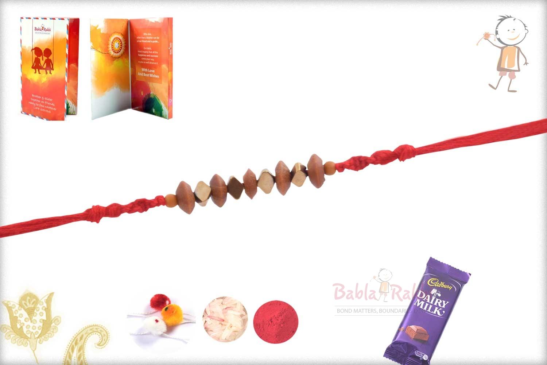 Handcrafted Sandalwood Beads with Hematite Stone Rakhi 2