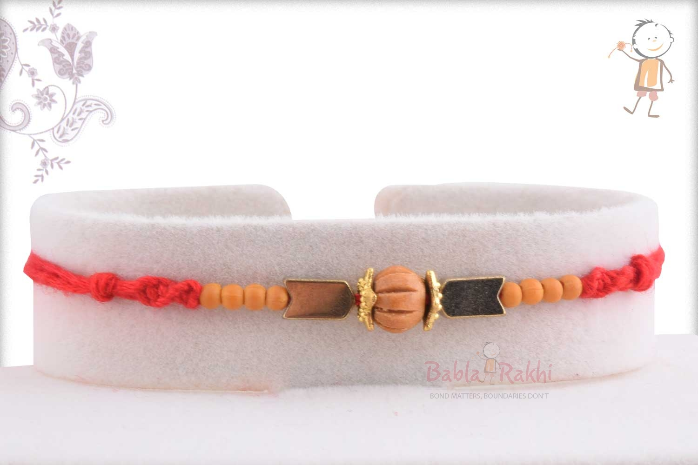 Handcrafted Round Sandalwood Bead with Hematite Stone Rakhi 1