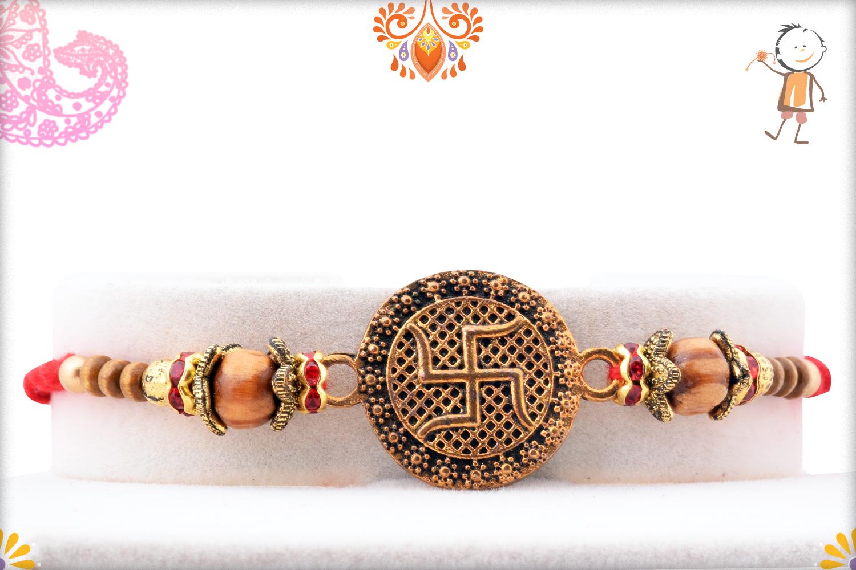 Unique Coper Colour Swastik With Wooden Beads Rakhi 1