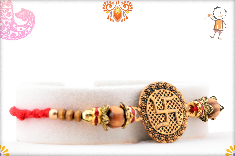 Unique Coper Colour Swastik With Wooden Beads Rakhi 2