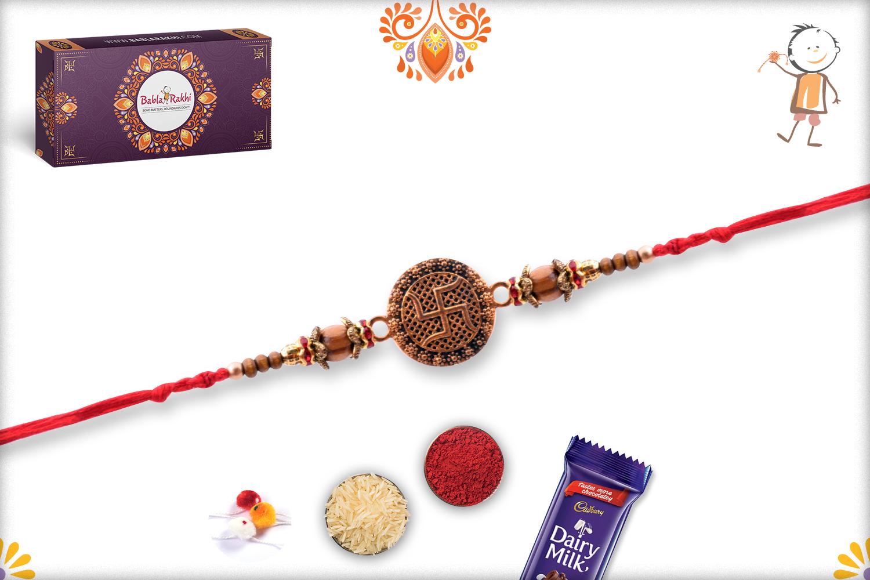 Unique Coper Colour Swastik With Wooden Beads Rakhi 3