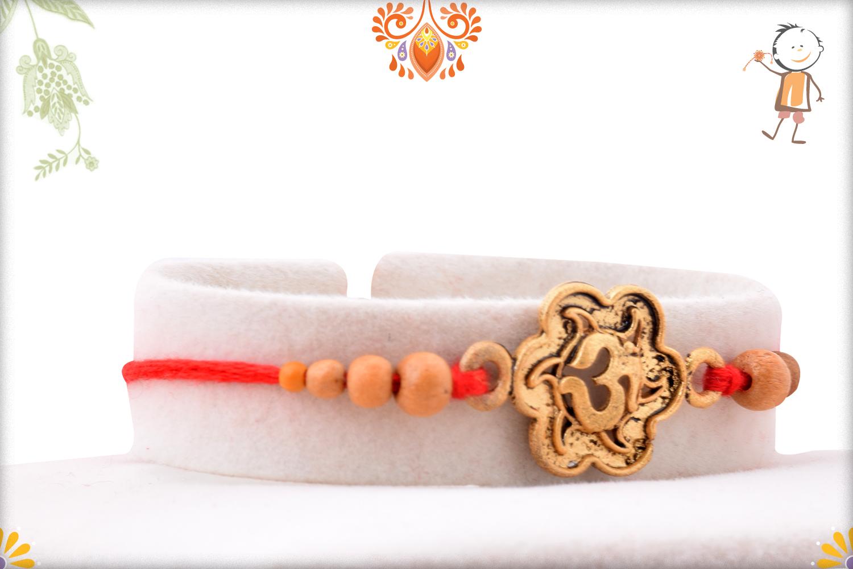 Spiritual Coper Color Om Rakhi With Wooden Beads 2
