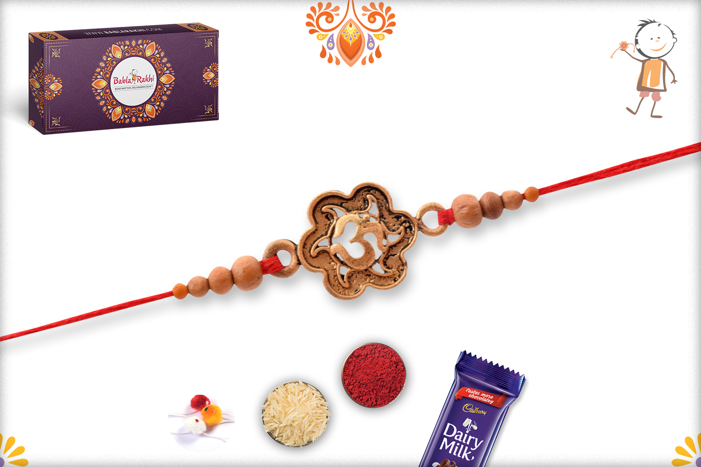 Spiritual Coper Color Om Rakhi With Wooden Beads 3
