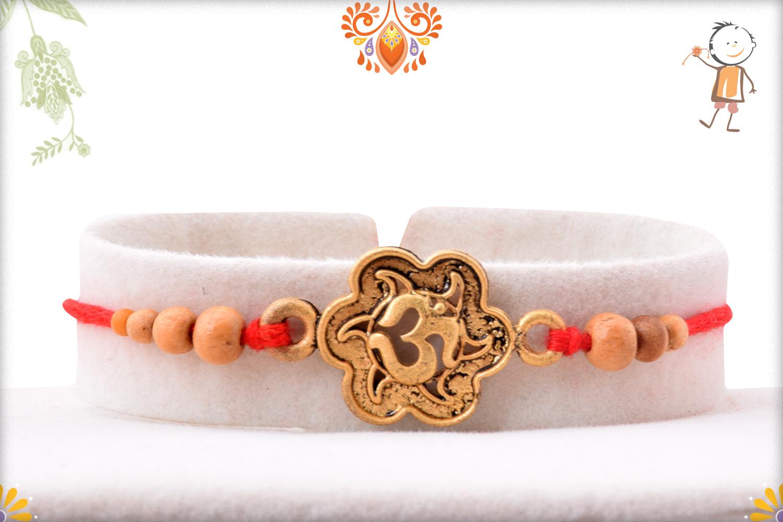Spiritual Coper Color Om Rakhi With Wooden Beads 1